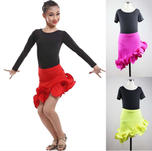 Girls' Latin dancing skirts red, pink, yellow,green color dancing wear kids suit women dancing skirt