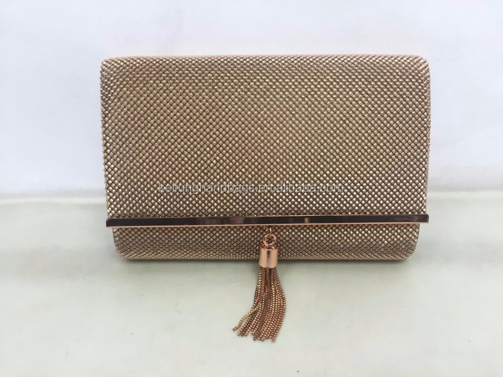 2016 Fashion frame tassel metal clutch bag