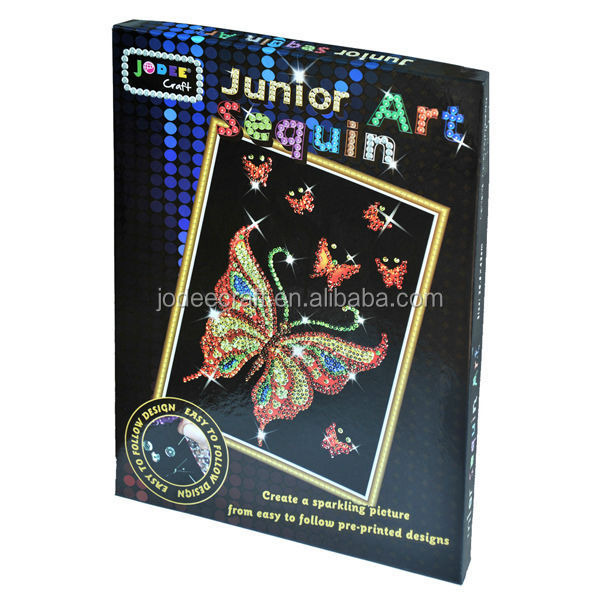 Do it yourself arts and crafts butterfly sequin art kit