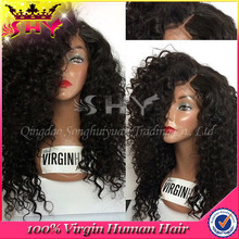 2015 New fashion brazilian virgin human hair kinky curly lace wigs for small heads