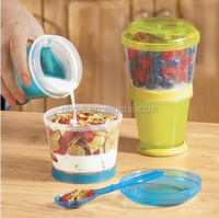 Kitchen Storage As Seen on TV Cereal To Go Plastic Bowl Lidded Storage Containers Set