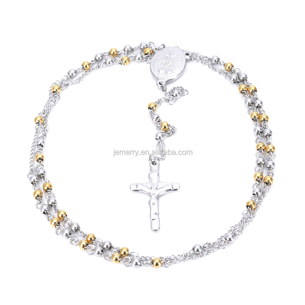 Double Luxury Brand Bead Necklace Cross Pendant Kim Between White Bead Necklace Fashion Jewelry