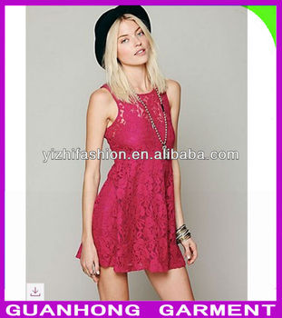 High fashion new design casual summer cute ladies red lace dress