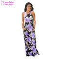 Summer Navy and Lilac Ladies V- Neck Floral Print Maxi Dress L51426-2