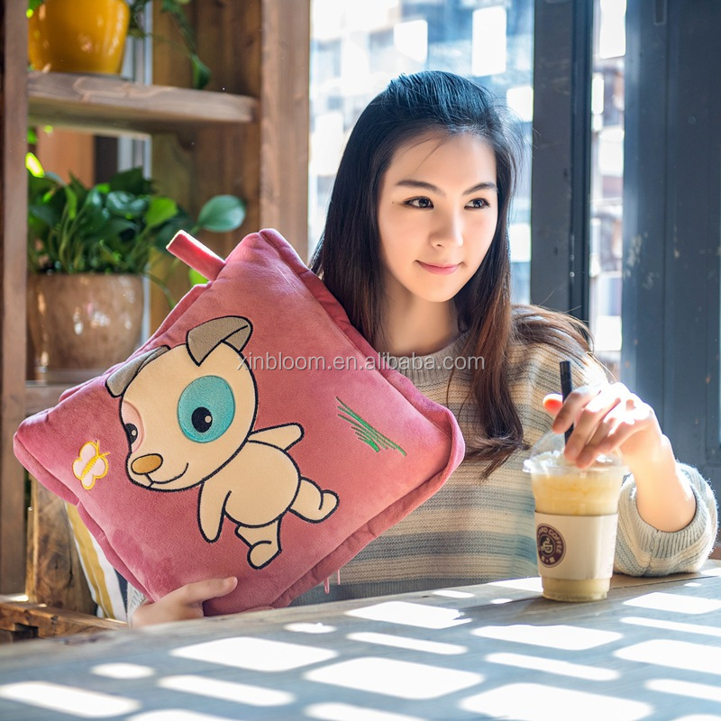 lovely cartoon 12 zodiac sign animal style office car TV children 1x1.5m plush 2 in 2 set sleeping folding pillow blanket