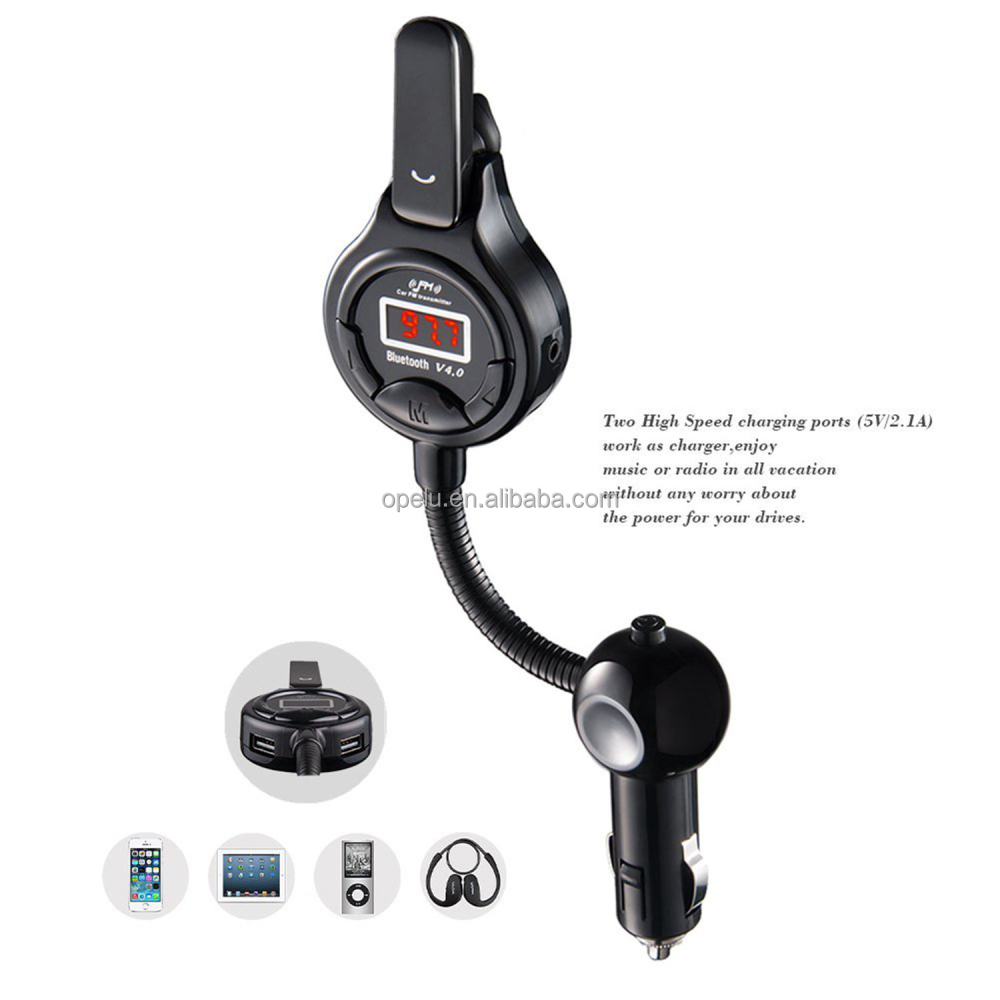 Removable Earphone LCD FM Transmitter Stereo bluetooth handsfree car kit