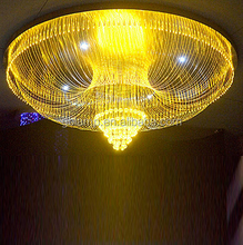 Large round LED pendant light, project crystal led chandelier with Optical fiber