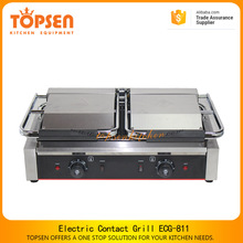 High quality double flat plate contact grill/sandwich maker, 1.8kw+1.8kw electric pancake grill for sale