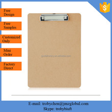 Hot sale MDF material a4 size clipboard,wood clipboard