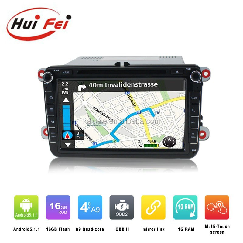 Huifei Newest Car Audio Products Android 5.1.1 car dvd gps navigation system for vw passat b6 multimedia with BT Phonebook SWC