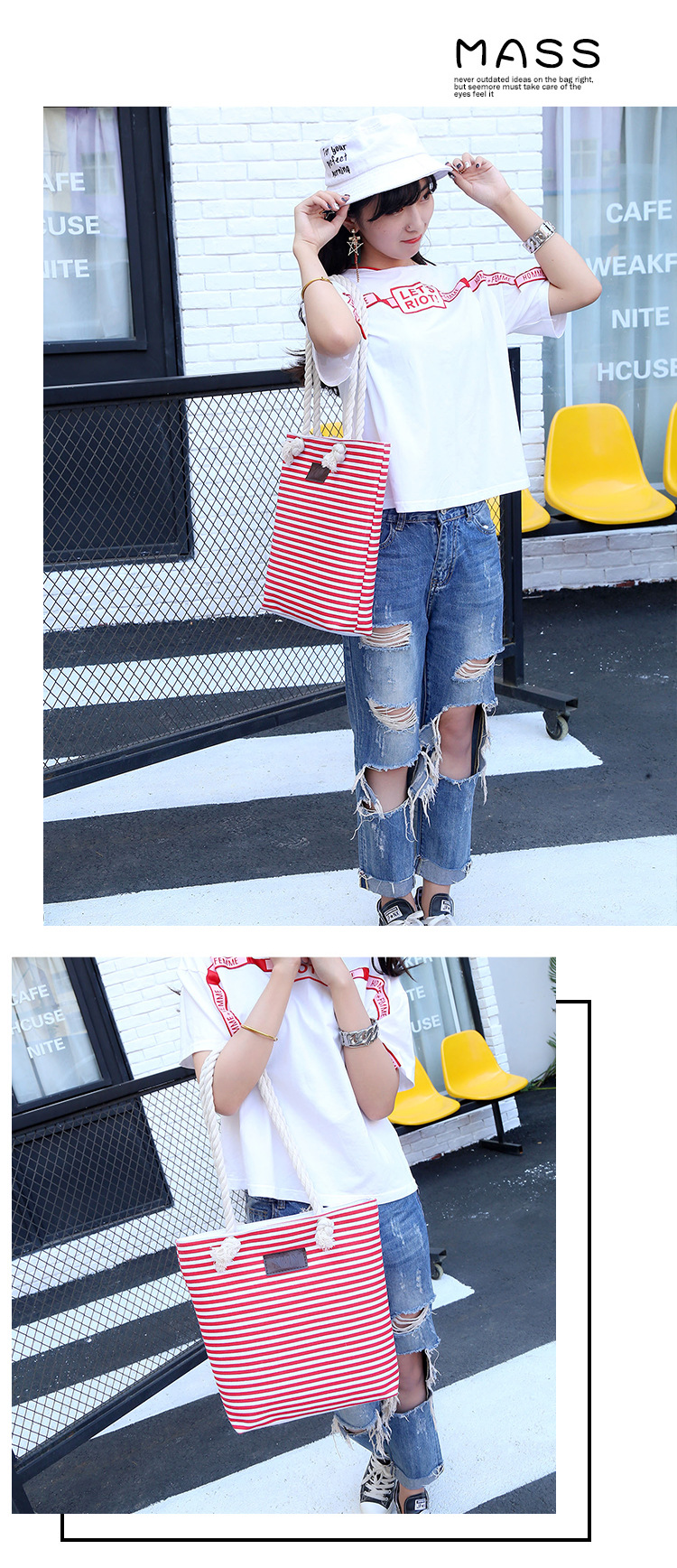 The factory spot canvas bag creative shopping bag with striped pocket summer tote bag exemption from postage