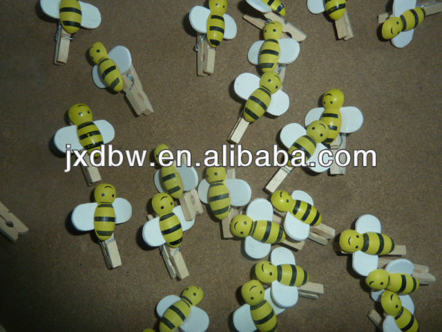 3.0CM Mini Craft Wooden Clothes Bees Pegs