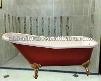 Red Color Bath Single Slipper Bathtub Freestanding Clawfoot Tubs Buy Slippe