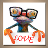 Creative Funny Cute Frog Painting with Glasses Stretched and Framed Modern Pop Canvas Wall Art