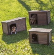 Factory cheap price wooden outdoor dog kennel with flat roof