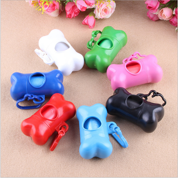 Outdoor Pet Poop Bag Dispenser Dog Poop Bag Holder Bone Shape Portable Convenient Cleaning Tool