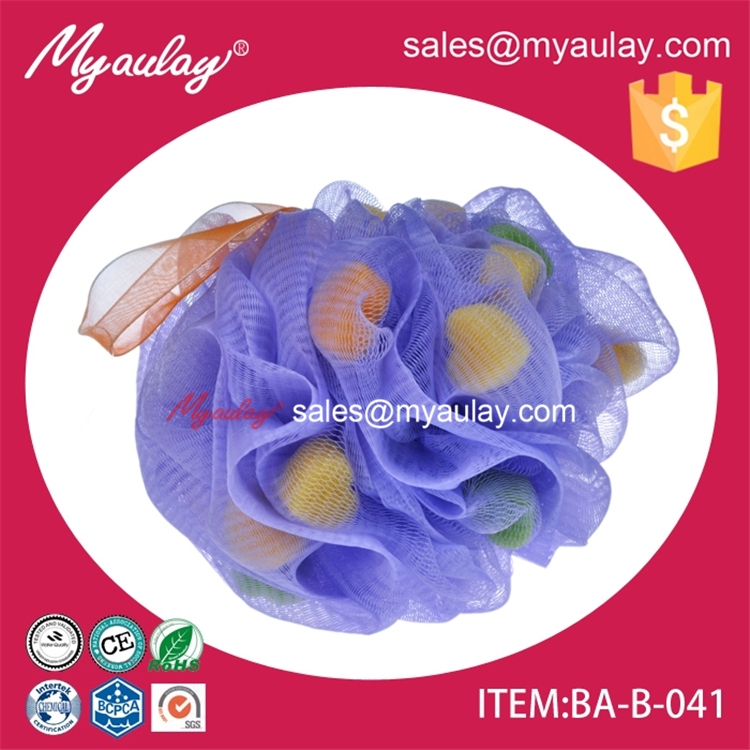 2015 mossy grain eco body polishing sponge plastic bath sponge with orange ribbon handle wholesale product BA-B-041