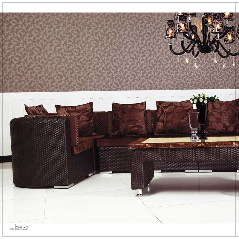 wholesale fashion rattan sofa set living room PE safa with cushion furniture