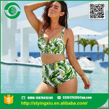 Fashion Green Leaf Printing Women Sexy Bra And Panty Set Waterproof Swimsuit
