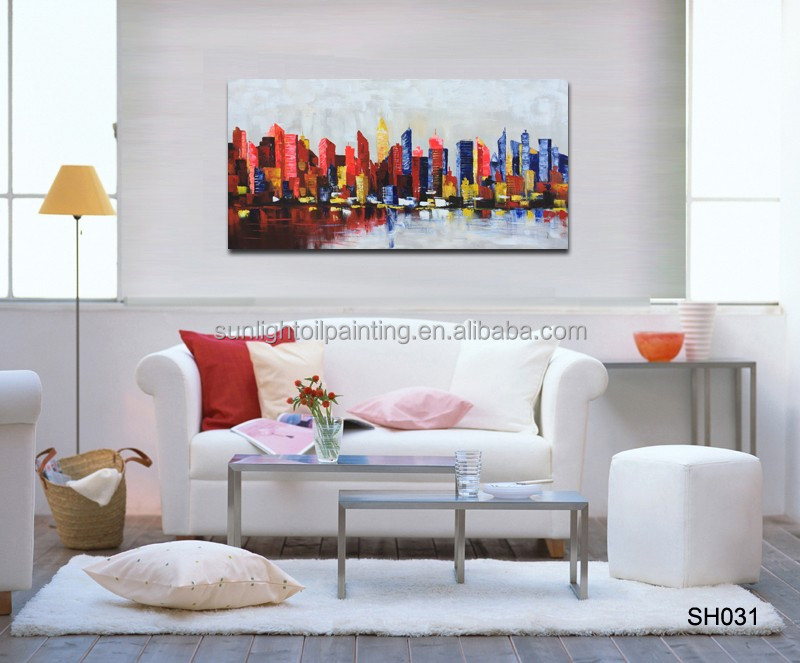 High Quality Painting Home Decoration Handmade Cityscape painting Art Wall Oil Painting on canvas SH031