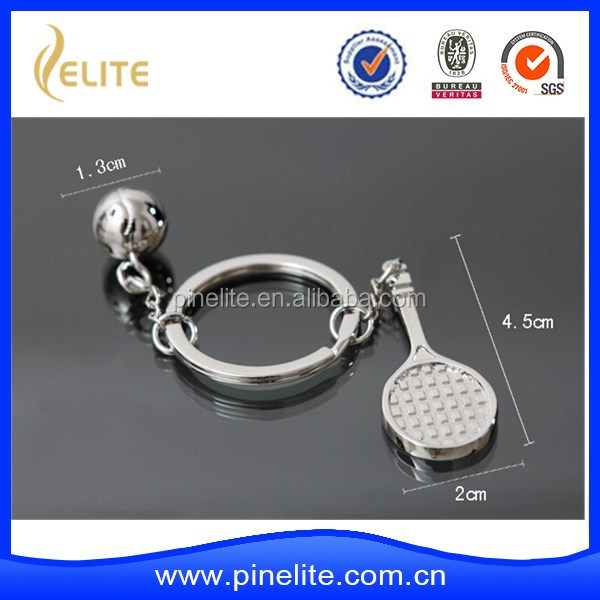 Wholesale tennis and tennis rackets shaped metal key chain with plating nickel in stock