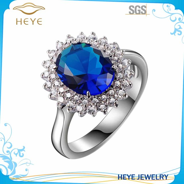 Wholesale fashion 925 sun silver blue sapphire mens ring