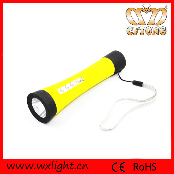 OME Manufactory ABS Plastic CE RoHS White Light Bright Flashlight 4+1 LED Tool Light