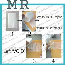 Custom white Font VOID sticker materials ,VOID tapes