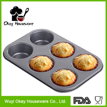 Economical carbon steel teflon coated 6 round cup baking cake muffin pans(BK-A0609)
