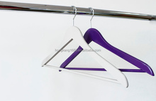 Hanger Solid Wooden Suit Hangers White and Purple Finish with Bar
