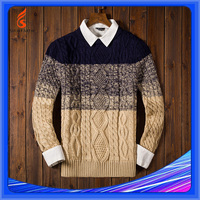 Ramie And Cotton Sweaters, Color Combination Crew Neck Sweater Knitting Pattern Free
