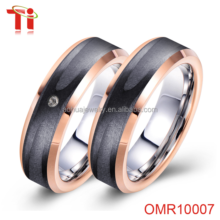 single stone ring designs Tungsten carbide Ring rose gold Plated carbon fiber zircon wedding rings jewelry gold for men women