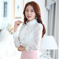 Chinese clothing manufacturers ladies white long sleeve lace womens blouse