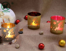 David's Deer Milky Glass Candle Containers Mercury Candlestick Holders for Christmas Party
