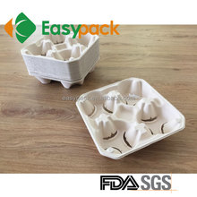 Food Grade Sugarcane Container Compostable and Biodegradable 4 Cup Holder Disposable Food Pulp Cup Tray