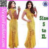 2014 new fashion yellow backless elegant dress for woman
