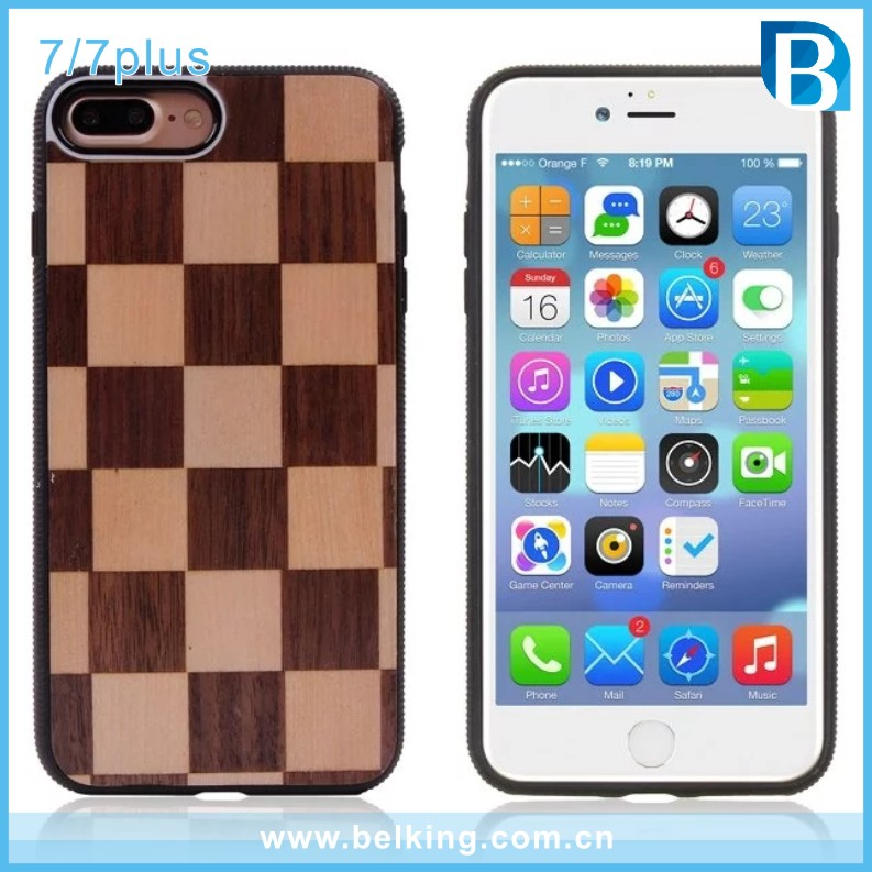 Wood Cover PC Plastic TPU Case For iPhone7 7Plus, Protector Cellphone Case For iPhone 7