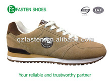 Custom design new model men sneakers shoes brown color suede upper textile lining RB/EVA sole nice lace up front breathable 2016
