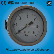 "3.5"" 80mm back connection bourdon tube semi stainless steel dry gas meter"