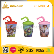 2017 Hot sell reusable 400ml PP plastic 3D cup, china manufacture plastic tumbler cup