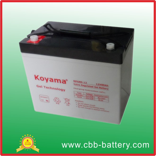 Chinese wholesale suppliers 12V80Ah motorcycle storage gel battery