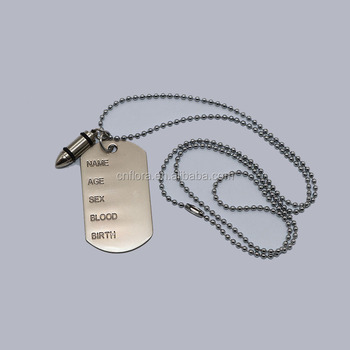 Military quality stainless steel dog ID tag military tag with ball chain for soldier