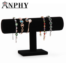 ANPHY A64-1Black Velvet Hard Bracelet Jewelry Display Stand Holder Packgaing T-Bar Bracelet Chain Watch Holder