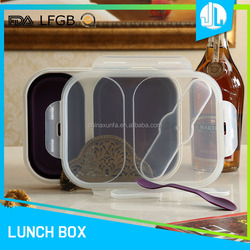Professional manufacturer 3 divided leakproof bento silicone lunch boxes