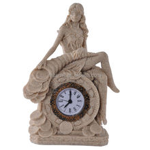 Resin sandstone crafts The goddess of fortune clock for home office decoration wholesale table clock gift 12206