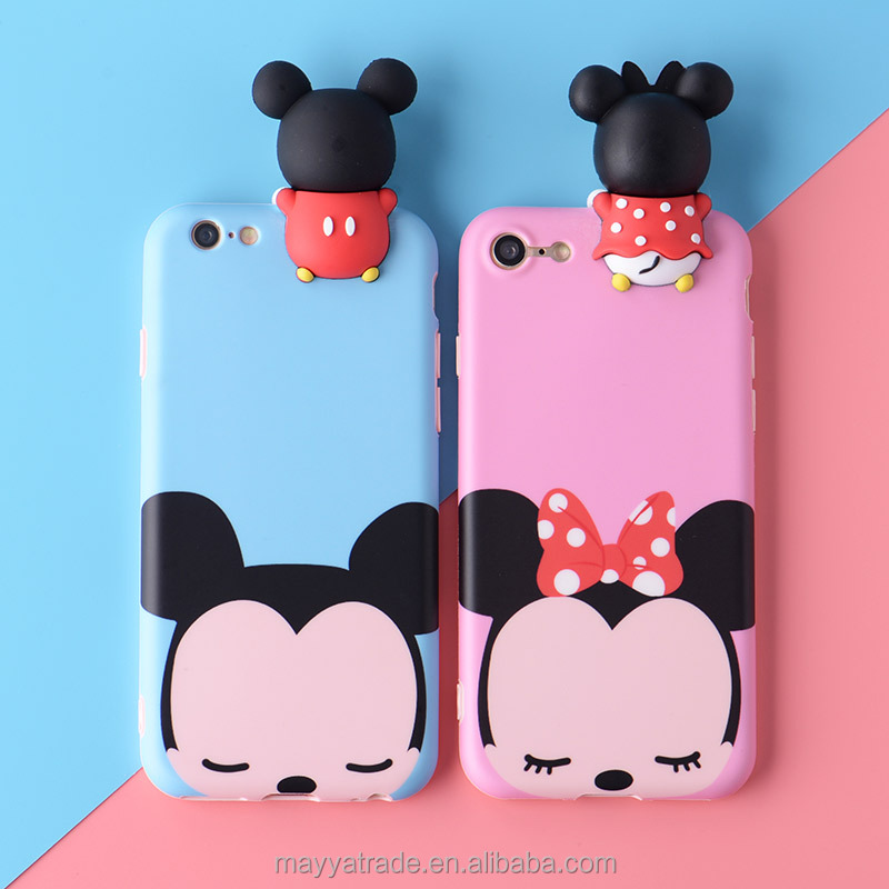 New Arrival Fashion Soft Silicone Colorful 3D Mickey mouse Flexible Cell Phone Cover for iPhone 7 7Plus 6S