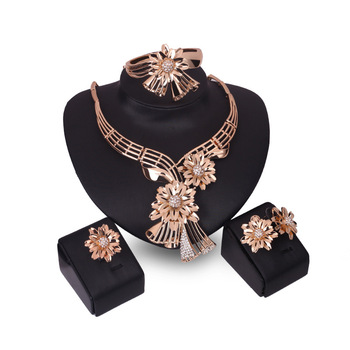 Fashion italian gold plated flower jewelry sets for girls