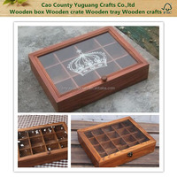 Custom vintage printed wooden tea bag box manufacturer,wooden sewing storage box with crown printed, wooden glass box with parts