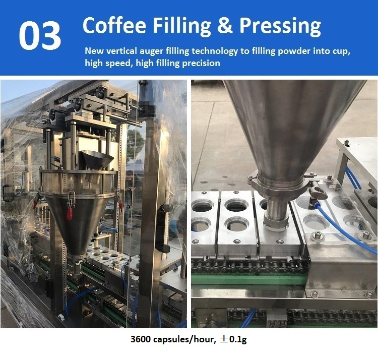 JOYGOAL new product high speed K cup empty capsule coffee filling and sealing machine