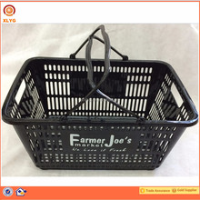 Two hand foldable shopping plastic black baskets made in China